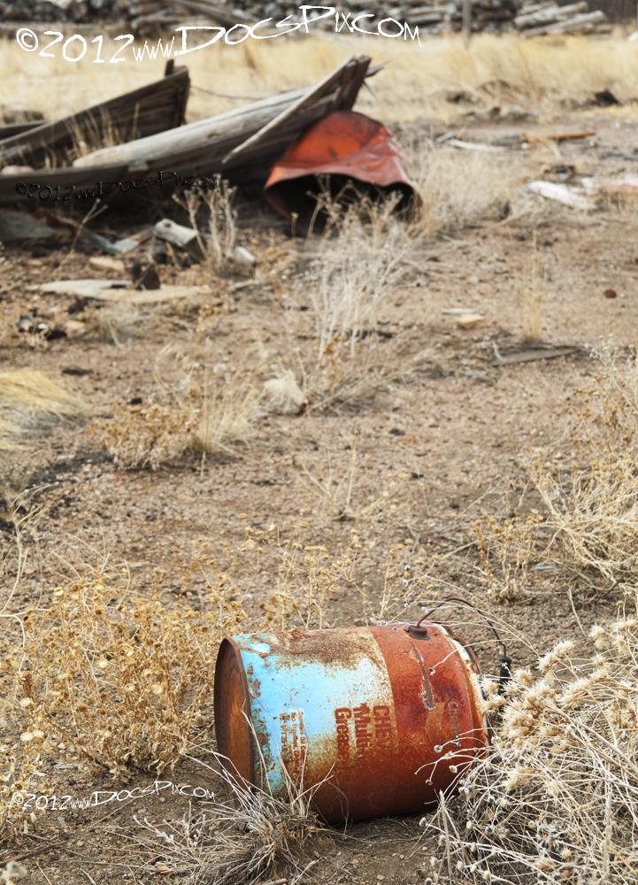 Chevron oil drum near telegraph office.