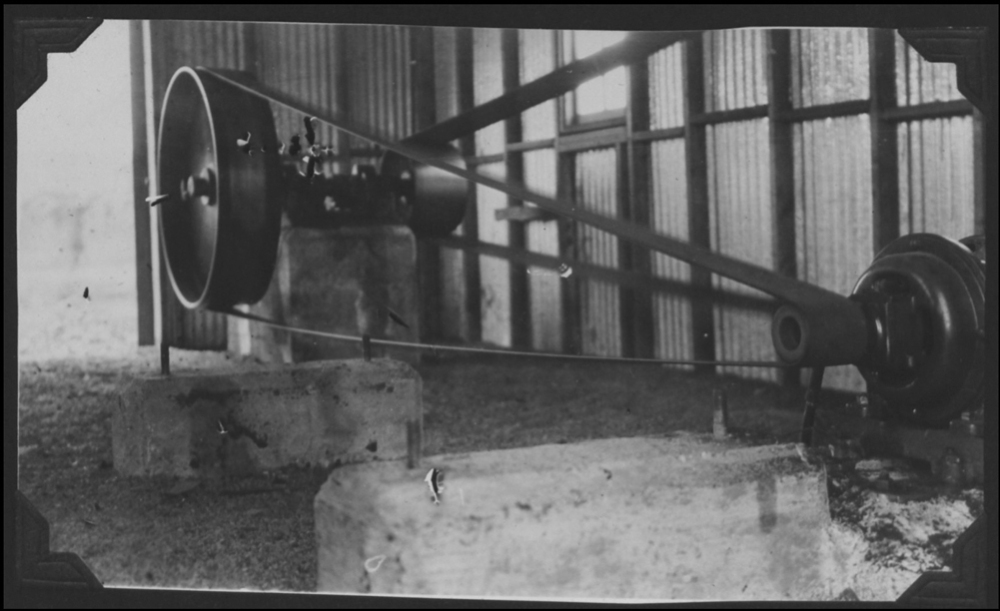Another motor and fly wheel that would have been used inside of these production buildings. Note the concrete riser in the foreground. The western half of this production line have very few of these, if any. The last three buildings have these risers in them.