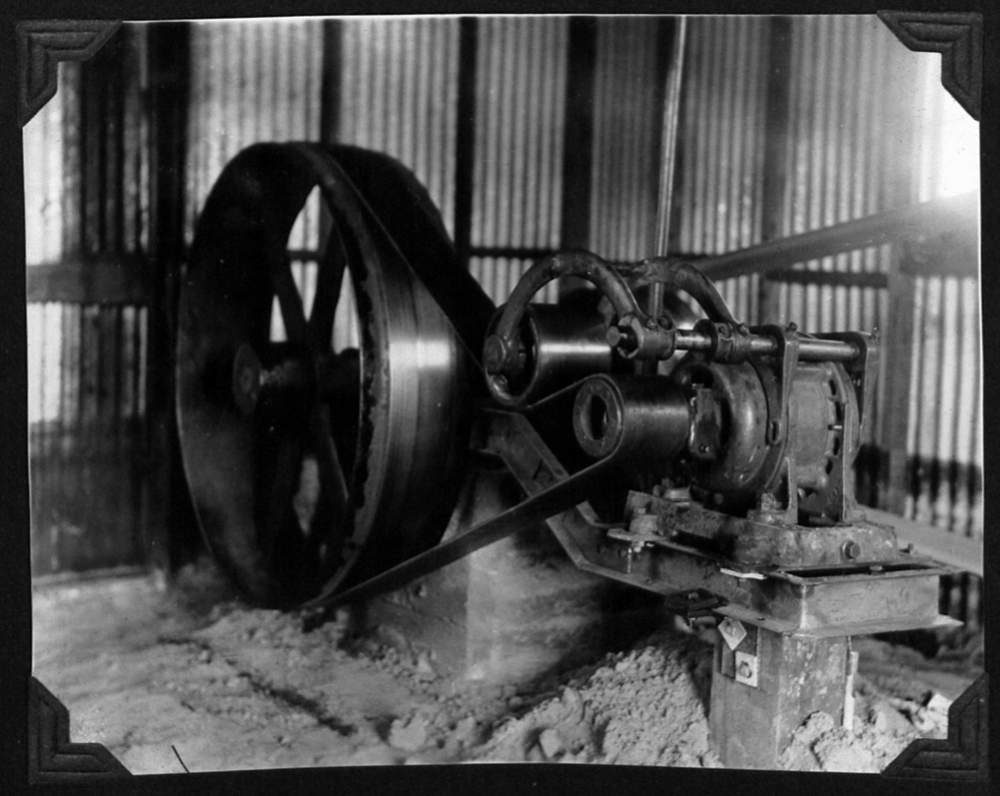 A typical motor and flywheel that would have been housed in the production line buildings.