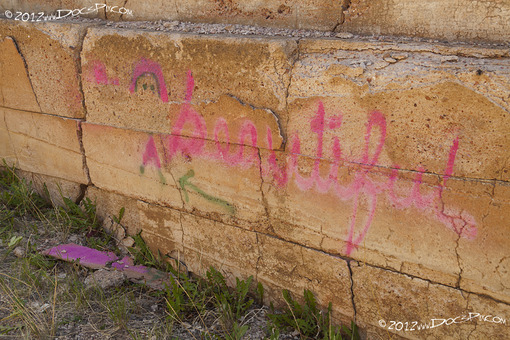 With age, the still bases are crumbling and with it, taking some of the graffiti.