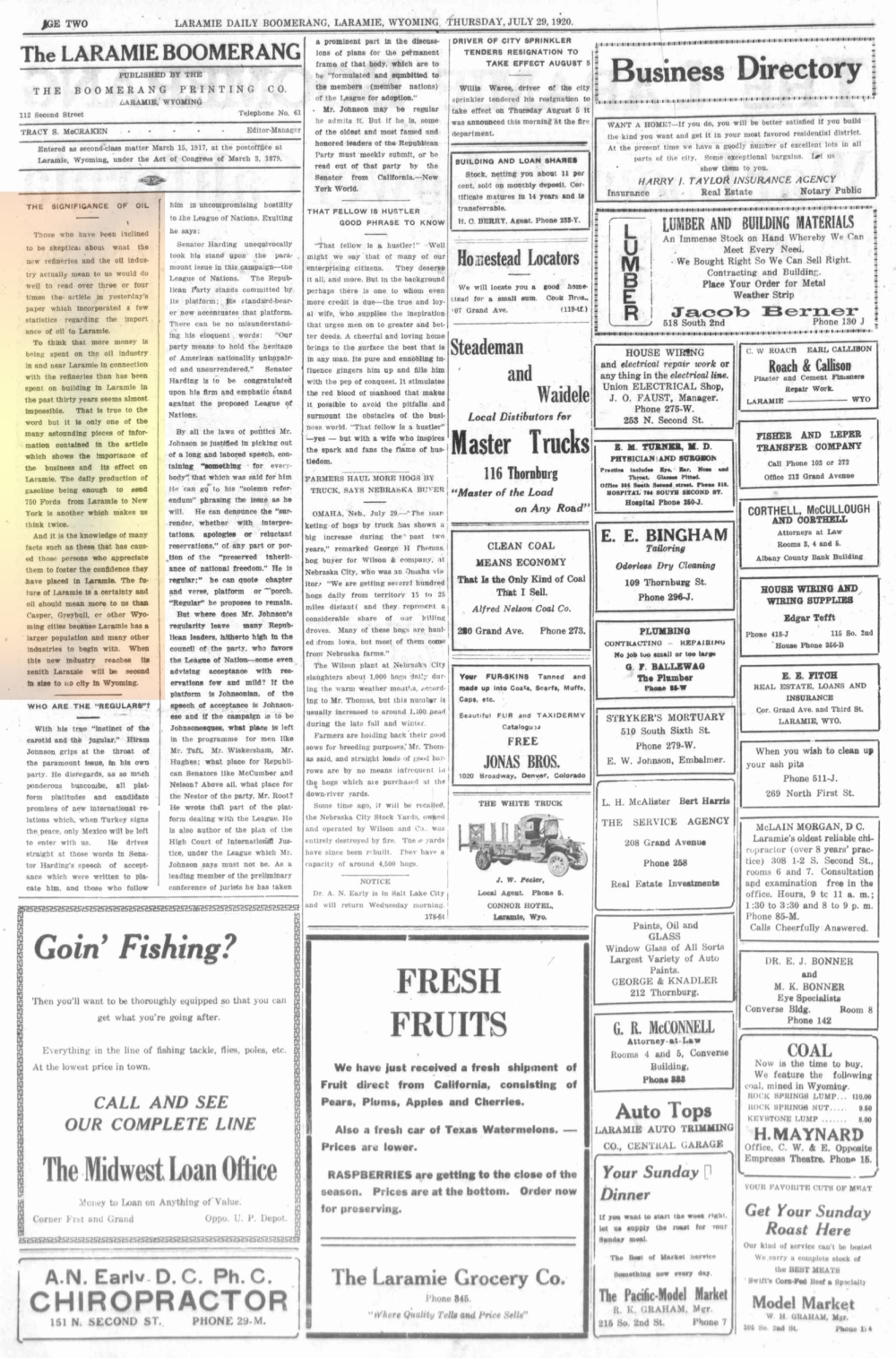 Laramie Boomerang 28thJuly1920, Page 2