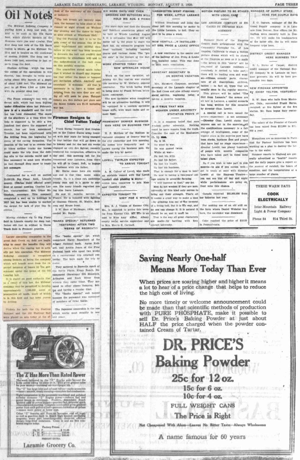 Laramie Boomerang 2ndAugust1920, page 3