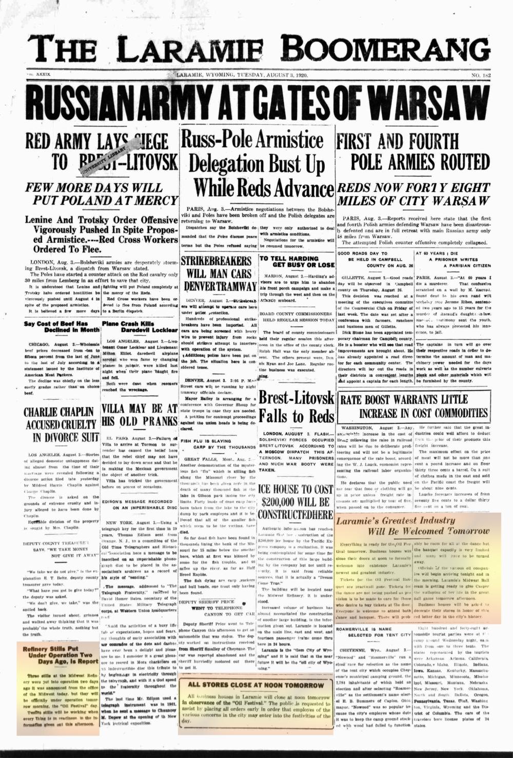 Laramie Boomerang 3rdAugust1920, page 1
