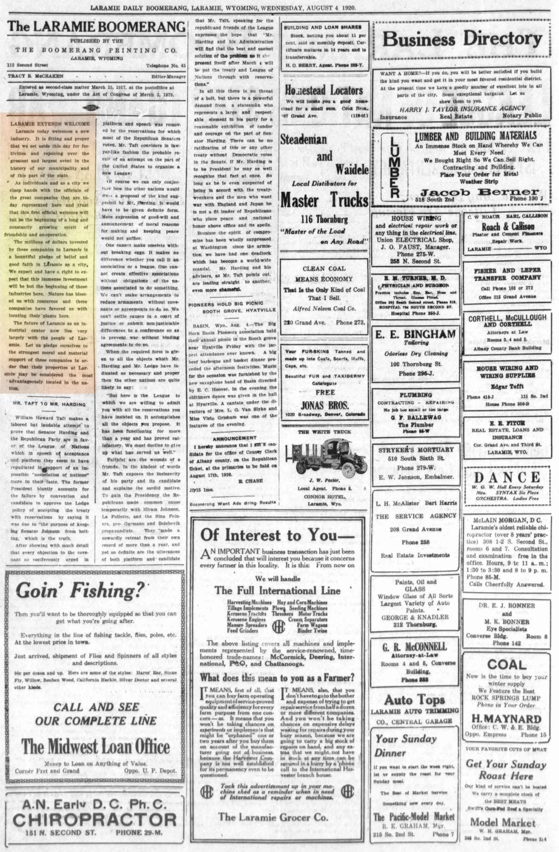 Laramie Boomerang 4thAugust1920, page 2.