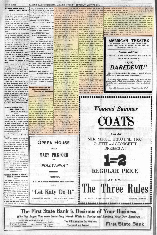 Laramie Boomerang 5thAugust1920, page 8.