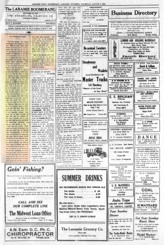 Laramie Boomerang 5thAugust1920, page 2.