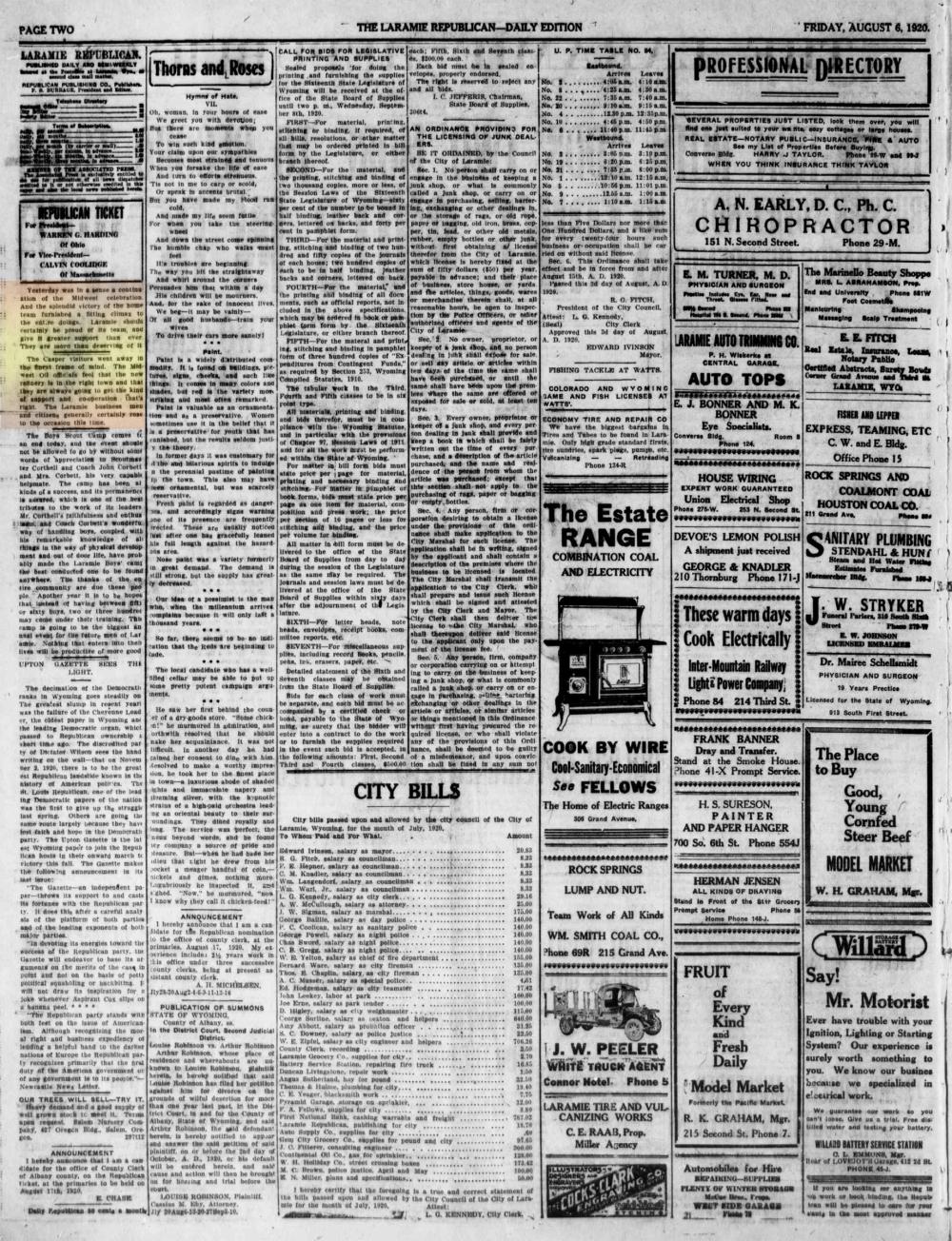 Laramie Republican 6thAugust1920, page 2.