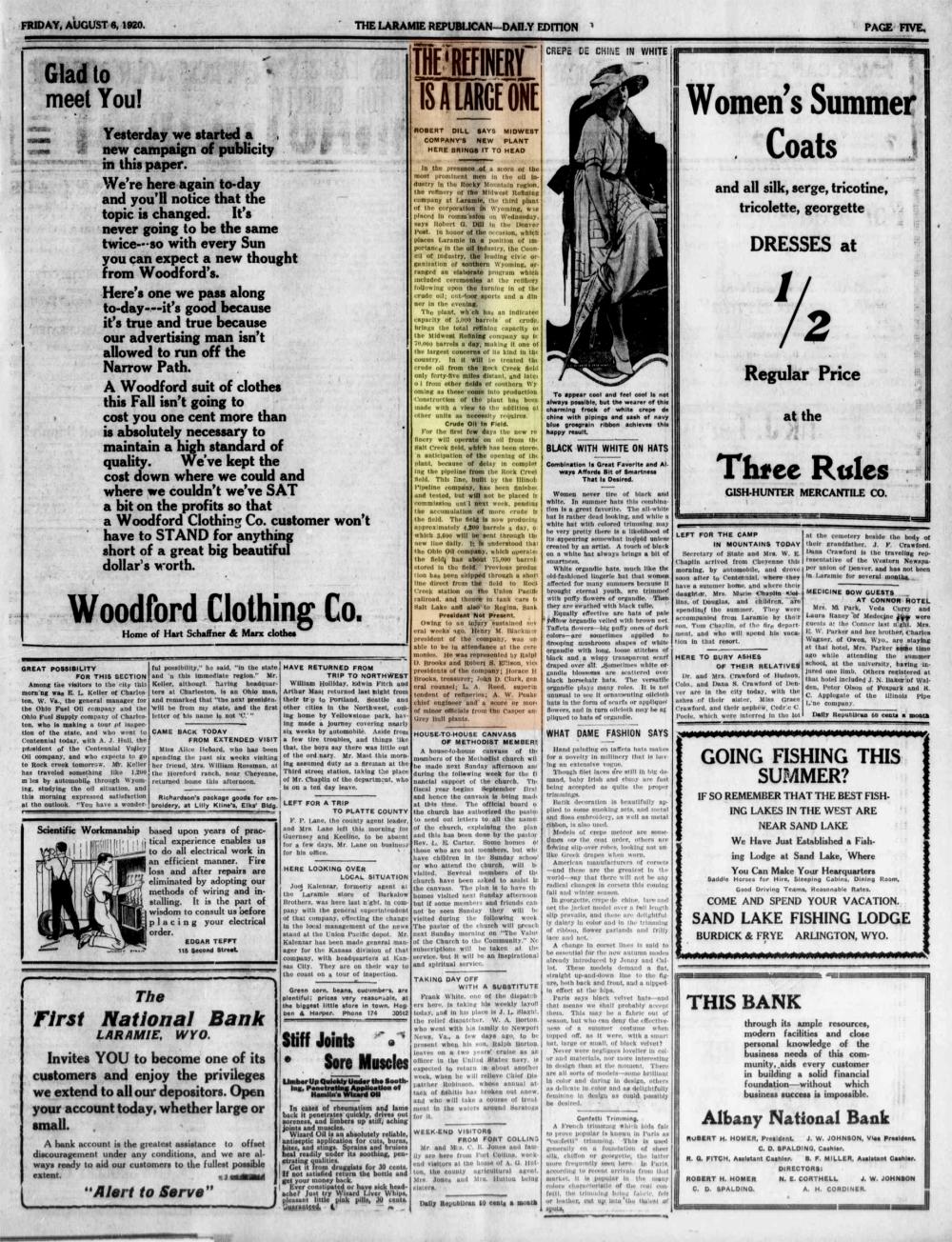 Laramie Republican 6thAugust1920, page 5.