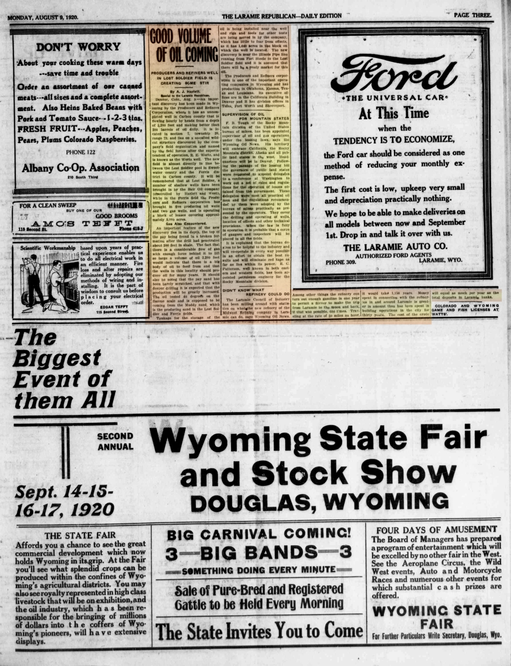 Laramie Republican 9thAugust1920 page 3.