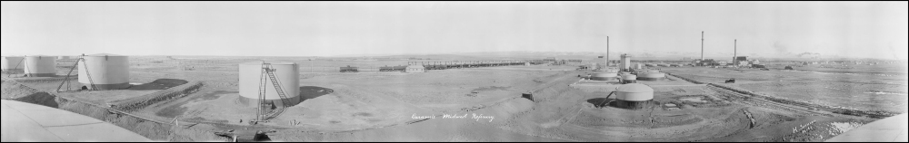 Undated, (c.1920) panoramic from atop of one of the storage tanks near the Big Laramie River.